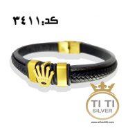 دستبند مردانه چرم و استیل