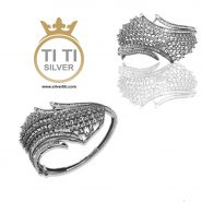 دستبند النگویی نقره با روکش طلا
