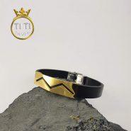 دستبند چرم مردانه استیل