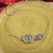 قفل دستبند نقره زنانه طرح پروانه