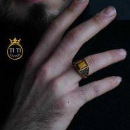انگشتر مردانه استیل با سنگ چشم ببر