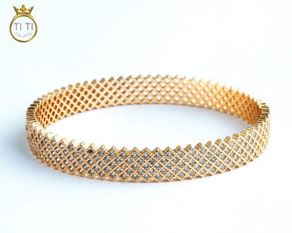 دستبند النگویی برنج طلایی