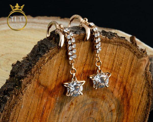 گوشواره استیل ستاره دار طلایی