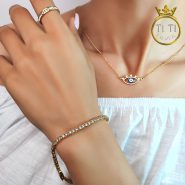 دستبند استیل زنانه تمام نگین