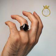 انگشتر مردانه عقیق سیاه گرد
